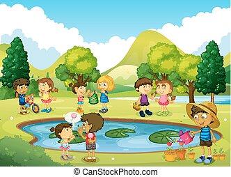 zabawa, park, posiadanie, dzieci