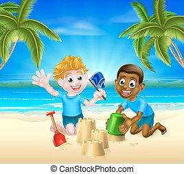 zabawa, piasek, dzieciaki, posiadanie, rysunek