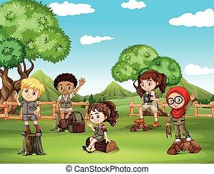 zabawa, pole, posiadanie, dzieci