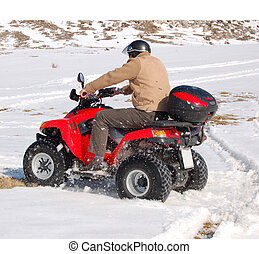 zabawa, quad, śnieg