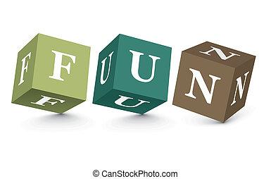 zabawa, słowo, pisemny, kloce