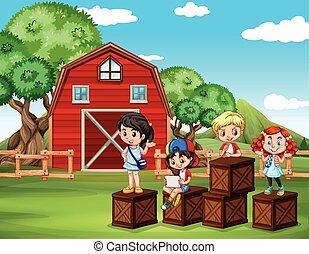 zabawa, stodoła, posiadanie, dzieci
