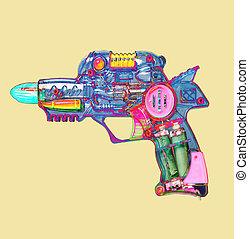 zabawka, promień, kolor, jasny, armata, retro