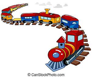 zabawkarski pociąg, tło