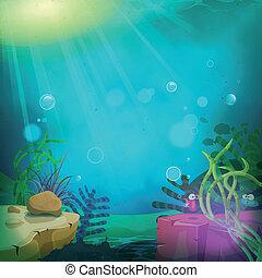 zabawny, łódź podwodna, krajobraz, ocean