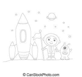 zabawny, astronauta, sprytny, -, kolorowanie, chłopiec, cudzoziemiec, książka