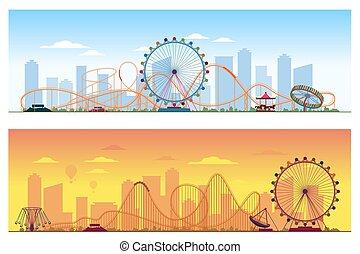zabawny, barwny, ilustracja, concept., tło, zabawowy park, rozrywka, wektor, luna