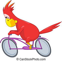 zabawny, biker., parrot.