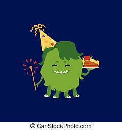 zabawny, ciastko, brylant, dzierżawa, partia, potwór, kapelusz, kawał, zielony, urodziny