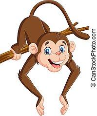 zabawny, drzewo, małpa, gałąź, rysunek