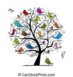 zabawny, drzewo, ptaszki, projektować, śpiew, twój