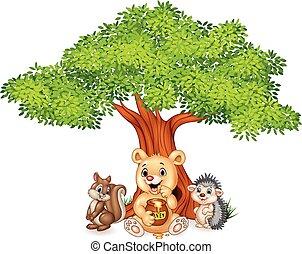 zabawny, drzewo, rysunek, zwierzę