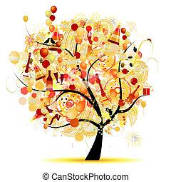 zabawny, drzewo, symbolika, święto, celebrowanie, szczęśliwy
