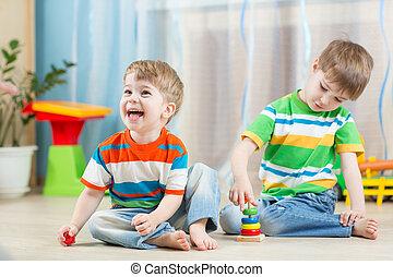 zabawny, gra, domowy, dzieci, zabawki