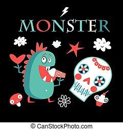 zabawny, graficzny, potwór, karta