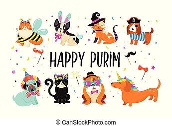 zabawny, illustration., karnawał, barwny, sprytny, kostiumy, zwierzęta, psy, purim, wektor, koty, chorągiew, pets., szczęśliwy