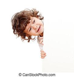 zabawny, kędzierzawy, czysta twarz, reklama, dzierżawa dziecko, chorągiew