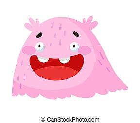 zabawny, kaganiec, toothy, uśmiechanie się, wektor, ilustracja, potwór