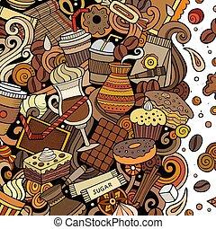 zabawny, kawa, frame., jasny kolor, wektor, doodles, kawiarnia, brzeg, rysunek