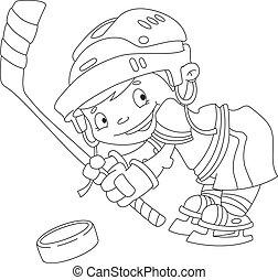 zabawny, konturowany, hokej, chłopiec