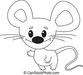 zabawny, konturowany, mysz