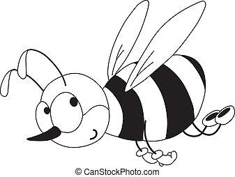 zabawny, konturowany, pszczoła
