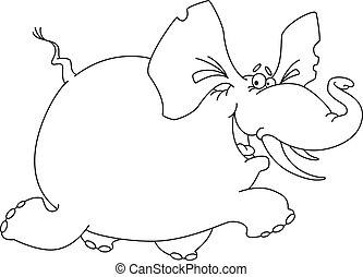 zabawny, konturowany, słoń