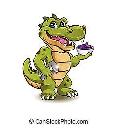 zabawny, krokodyl, hantel