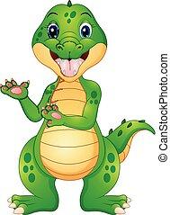 zabawny, krokodyl, przedstawiając, rysunek