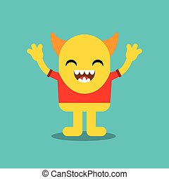 zabawny, litera, potwór, ikona