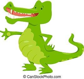 zabawny, litera, zwierzę, krokodyl