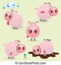 zabawny, mały, komplet, świnia