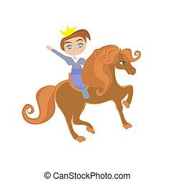 zabawny, mały, odizolowany, ilustracja, księżna, koń