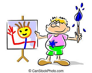 zabawny, -, malarstwo, ilustracja, koźlę