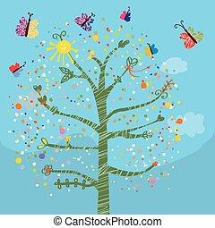 zabawny, motyle, dzieciaki, drzewo, karta
