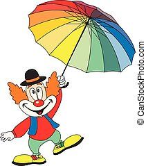 zabawny, parasol, dzierżawa, klown, rysunek