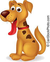 zabawny, pies, rysunek