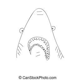 zabawny, pomylony, resident., contoured, ilustracja, ręka, wektor, morze, pociągnięty, monochromia, shark.