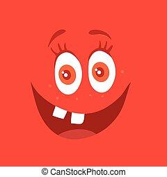 zabawny, potwór, litera, uśmiech, uśmiechanie się, bacteria, czerwony