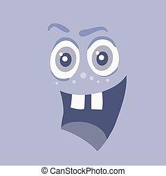 zabawny, potwór, litera, uśmiech, uśmiechanie się, bacteria