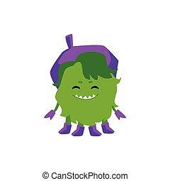 zabawny, purpurowy, beret, niemowlę, potwór, uśmiechanie się, ostry kęs, zielony