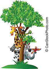 zabawny, różny, rysunek, safari, zwierzę
