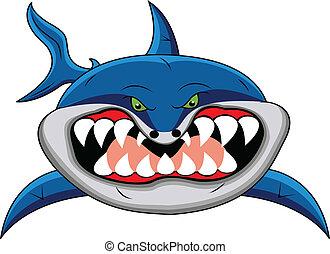 zabawny, rekin, rysunek