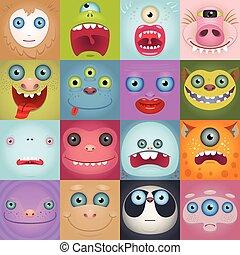 zabawny, rysunek, komplet, potwór, twarze