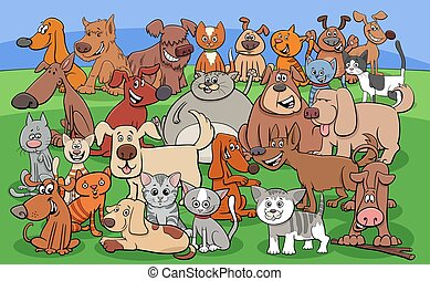 zabawny, rysunek, koty, litery, psy, grupa