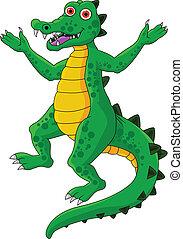 zabawny, rysunek, krokodyl