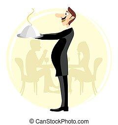 zabawny, służąc, kelner, kopuła, dzierżawa, srebro
