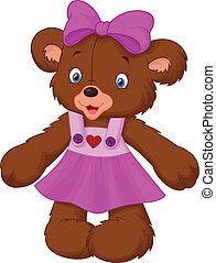 zabawny, samica, niedźwiedź, rysunek