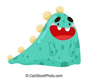 zabawny, toothy, uśmiechanie się, wektor, ilustracja, potwór, rogi