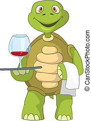 zabawny, turtle., waiter.